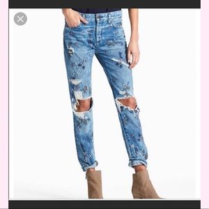 Lucky Brand Floral Distressed Jeans Size 10/30